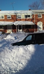 Snowzilla 2016 Front and car the morning after